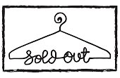 Hanger symbol with sold out letter. Clothes shoping concept vector illustration - Illustration Closet, Clothing Store, Commercial Activity, Fashion Model, Retail Place