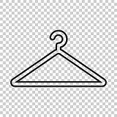 Hanger vector icon in line style. Wardrobe hanger flat illustration.