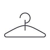 hanger vector line icon, sign, illustration on background, editable strokes