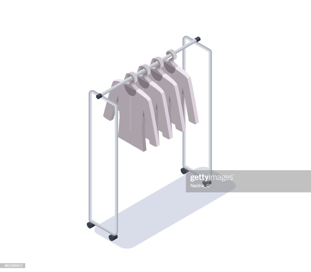 Hanger with clean white clothes, isometric 3d vector illustration, shop equipment