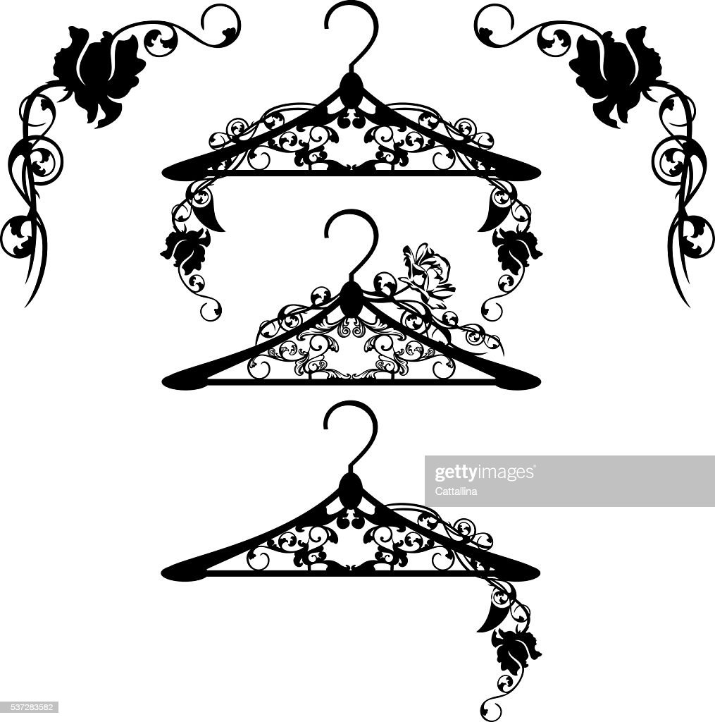 hangers among rose flowers