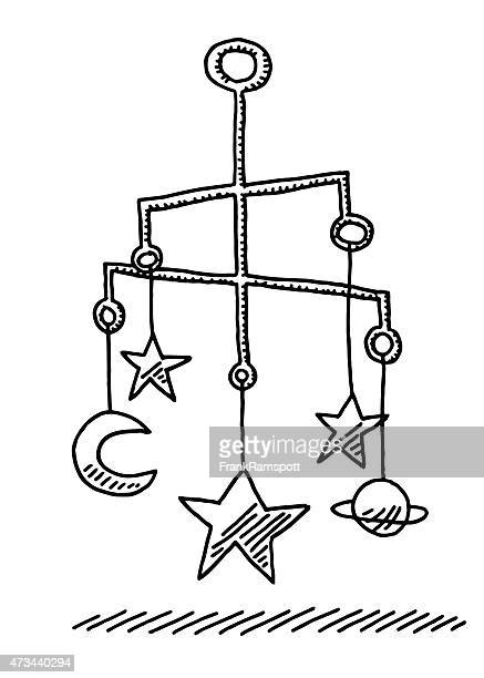 Hanging Baby Mobile Sculpture Stars And Moon Drawing