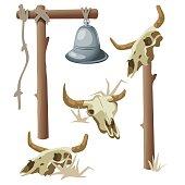 Hanging bell and three bull skulls