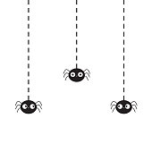 Hanging black spiders silhouette on dash line web. Three funny insect set. Cute cartoon baby character. Happy Halloween. Flat material design. White background. Isolated.