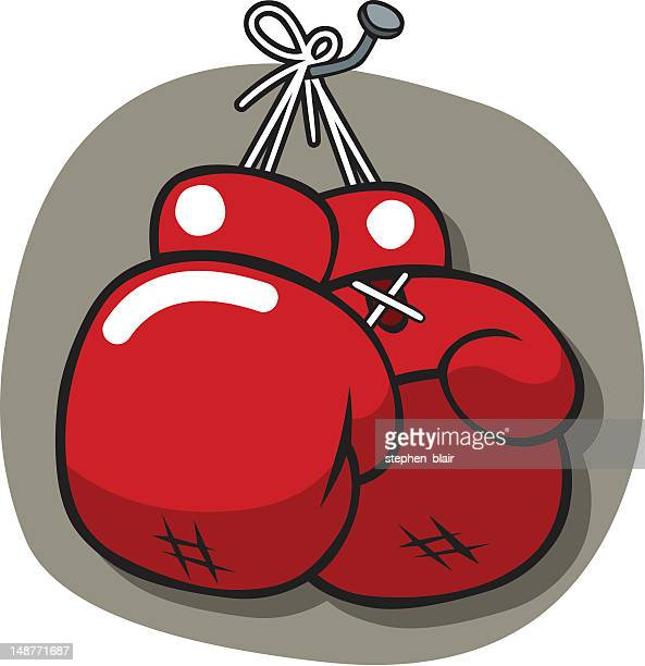 hanging boxing gloves - stehen stock illustrations