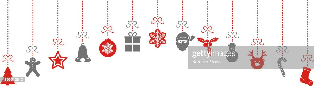 Hanging Christmas decorations isolated on white background. Vector.