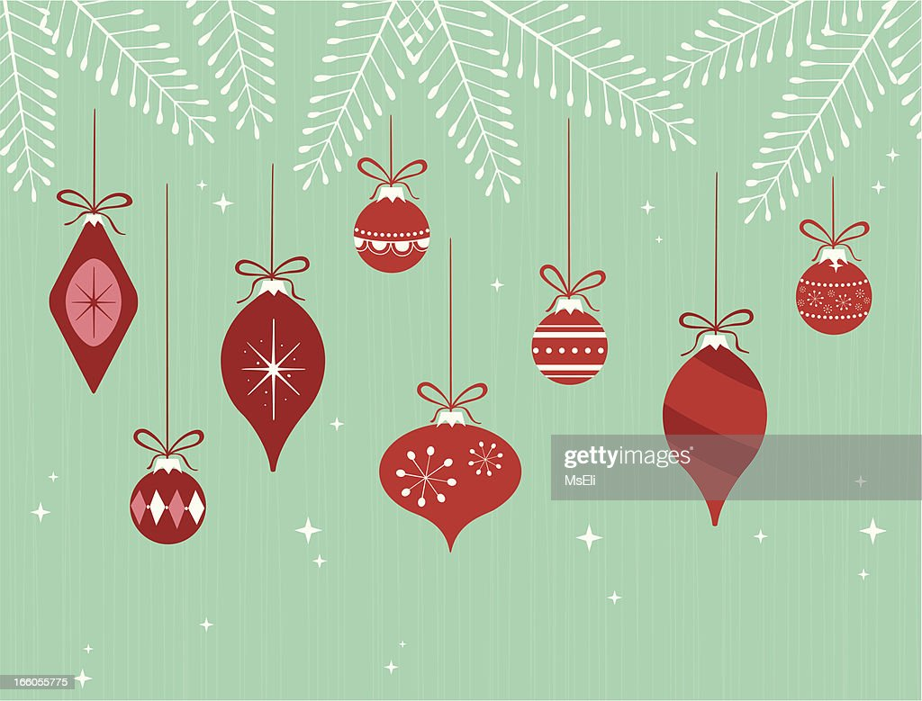 Hanging Christmas ornaments on branches : stock illustration