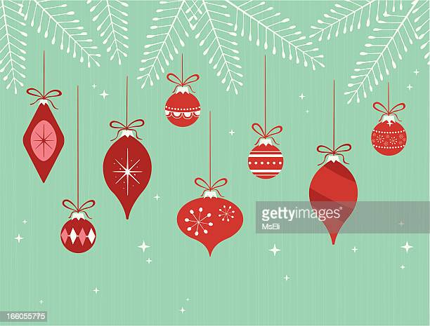 hanging christmas ornaments on branches - retro style stock illustrations