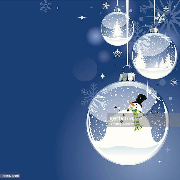 hanging christmas snow globe bauble with snowman - snowman stock illustrations