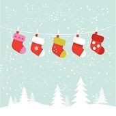 Hanging christmas socks