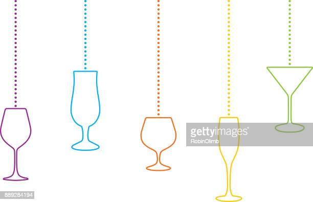 hanging cocktail classes christmas ornaments - brandy stock illustrations, clip art, cartoons, & icons