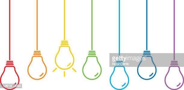 Hanging Colorful Line Art Light Bulbs