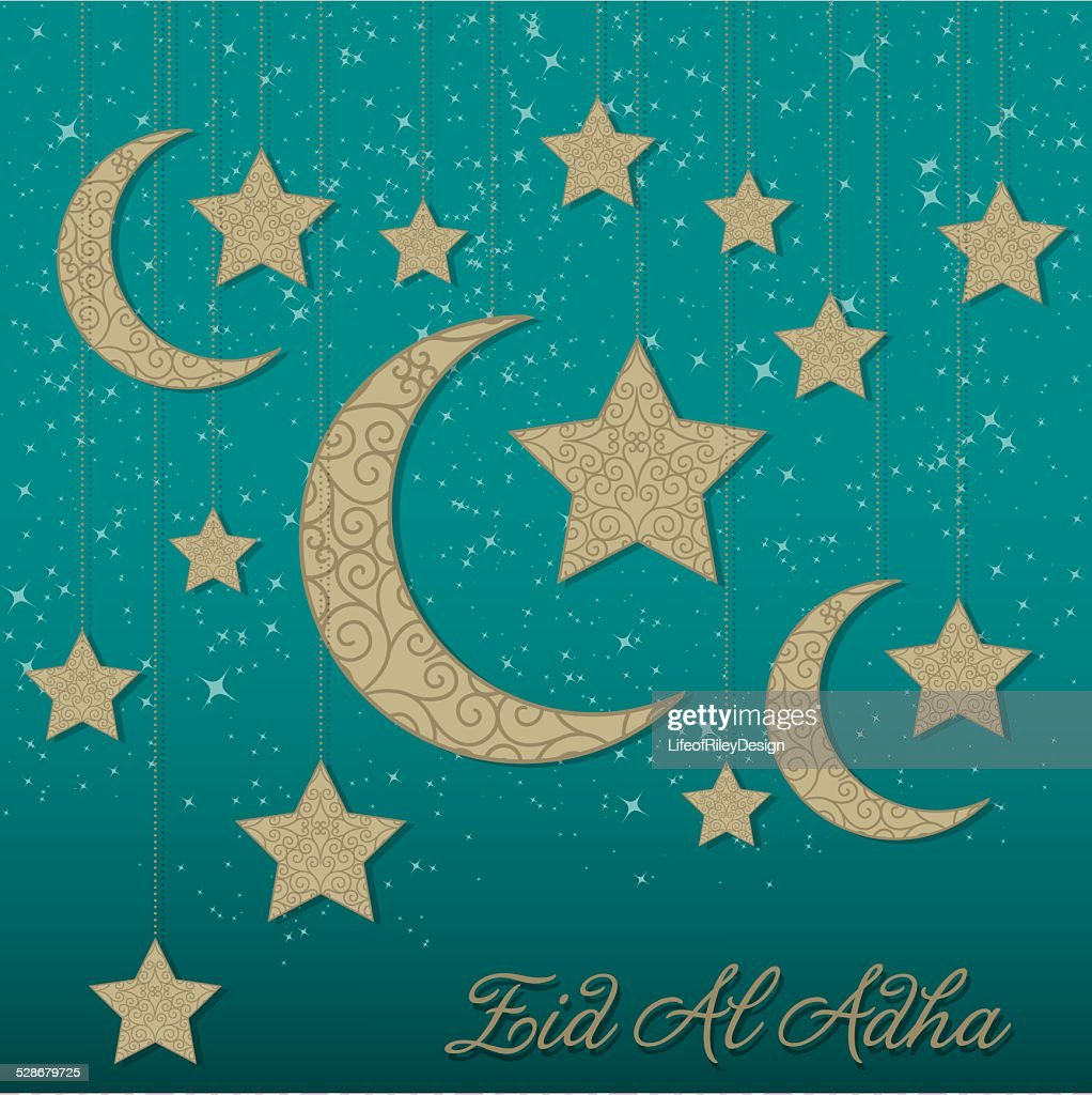 Hanging decoration Eid Al Adha card in vector format.