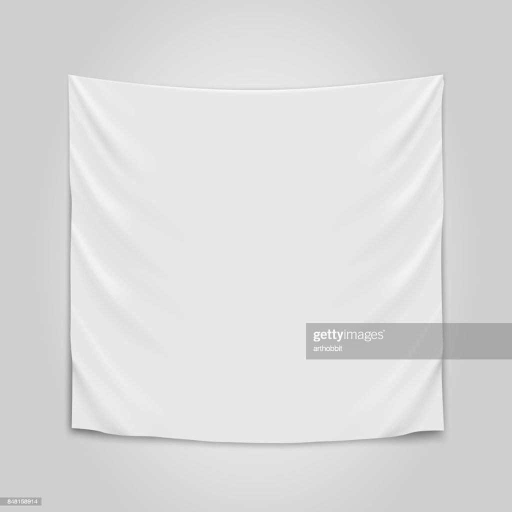 Hanging empty white cloth. Blank flag concept.