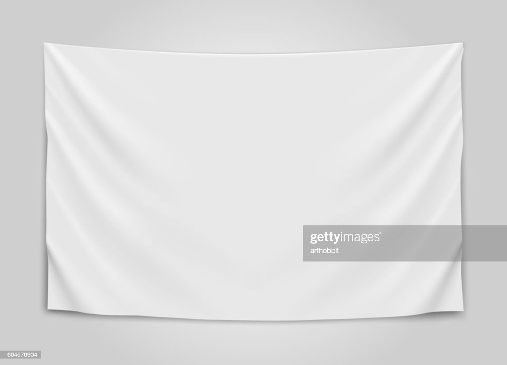 Hanging empty white flag. Blank flag concept.