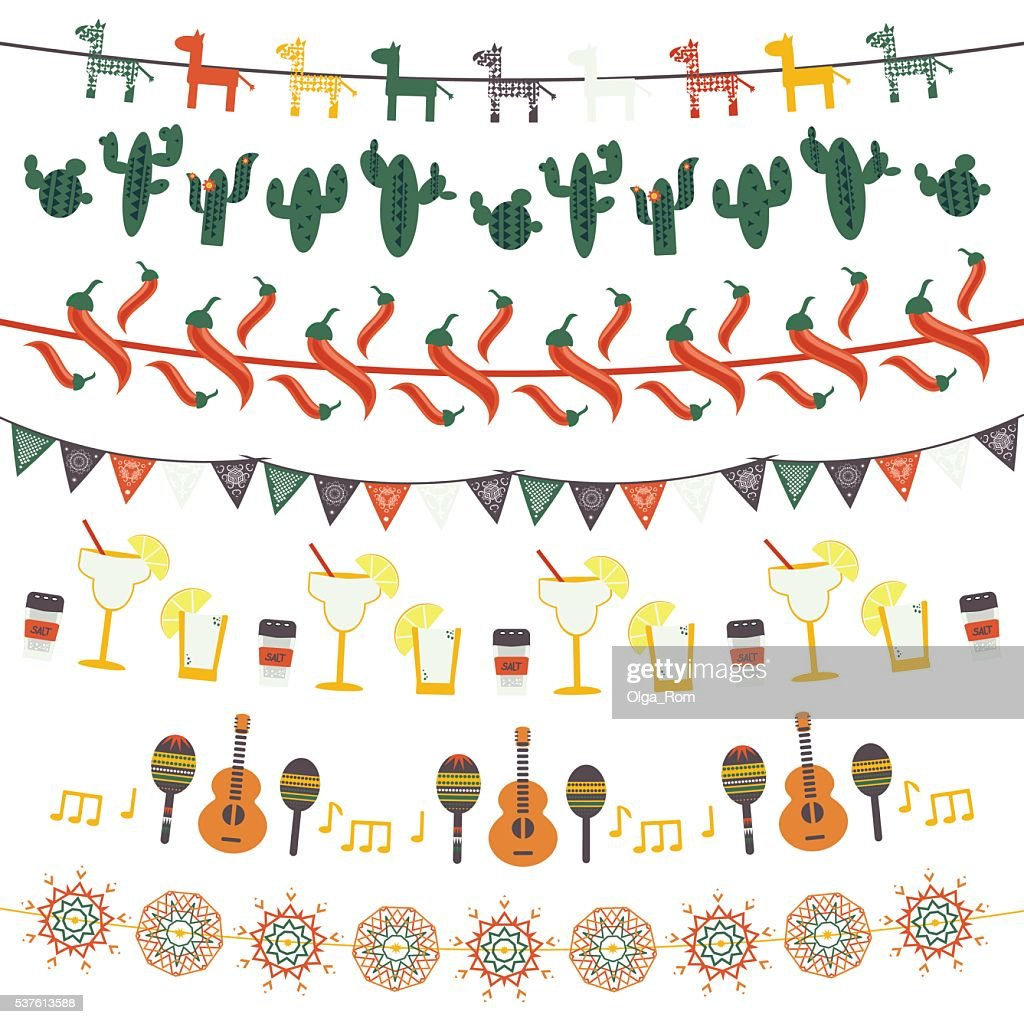 Hanging festive mexican banners, flags, garlands