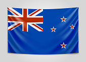 Hanging flag of New Zealand. New Zealand. National flag concept.