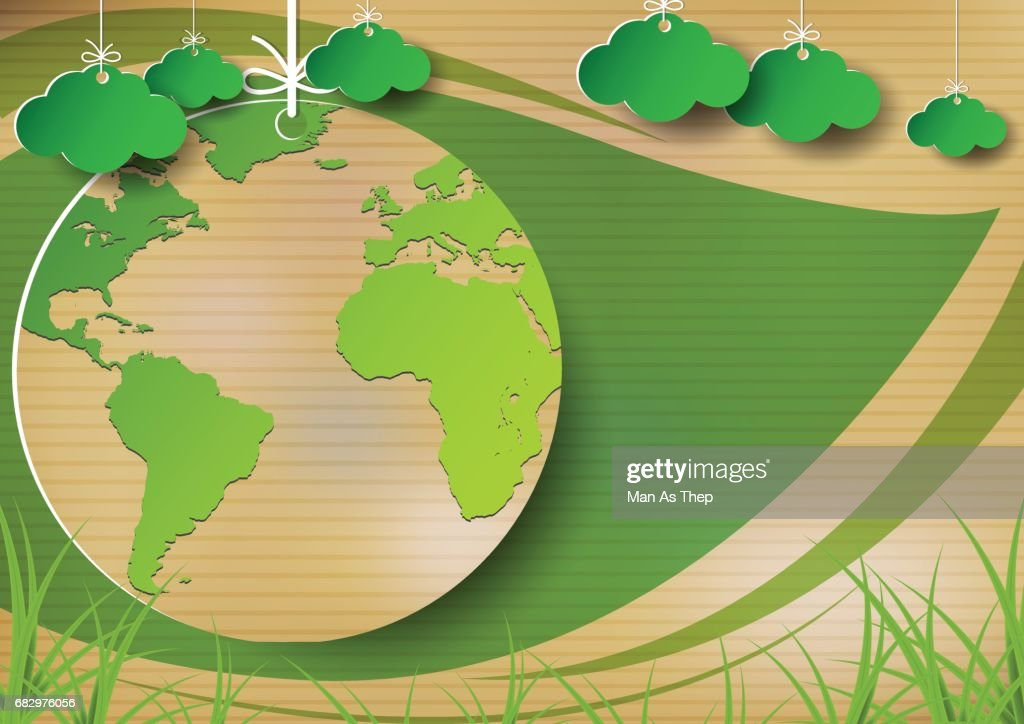 Hanging green earth on old paper with green leaf background.