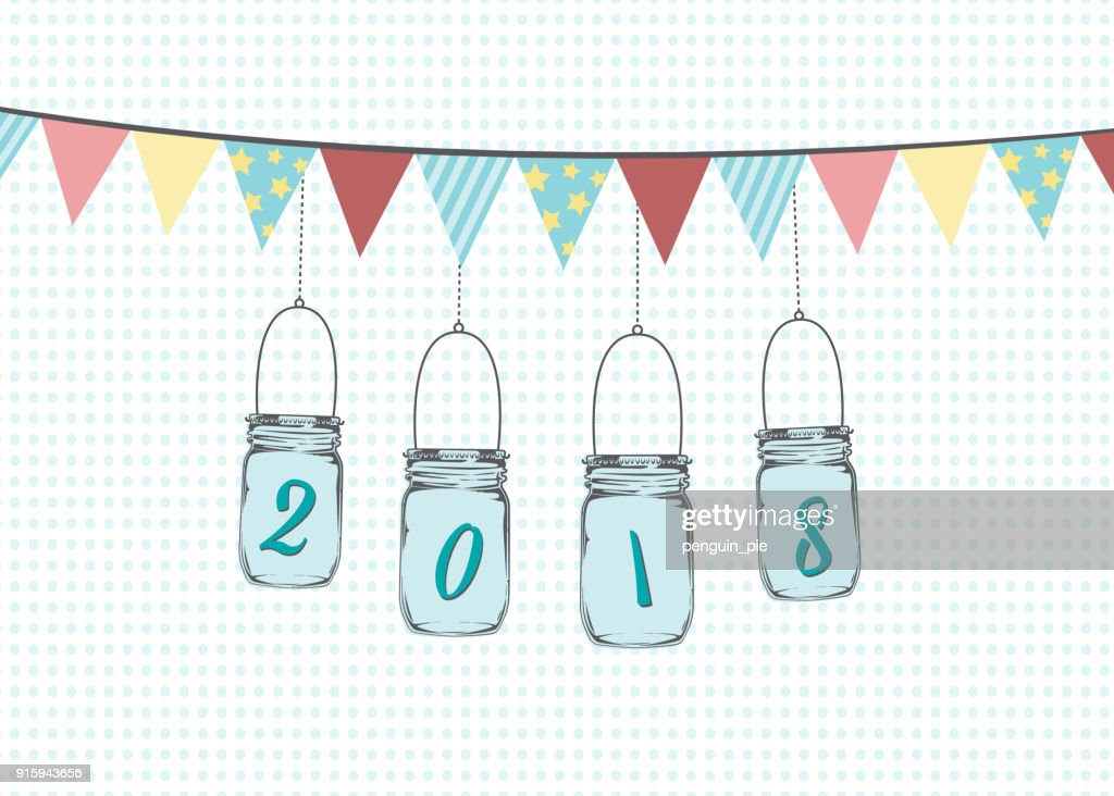 Hanging mason jars with bunting flags illustration. Vector graphic with year 2018 on simple background.