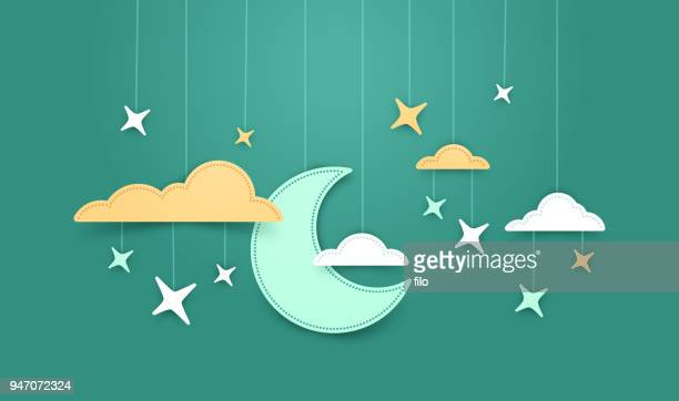 hanging moon and stars background - origami stock illustrations