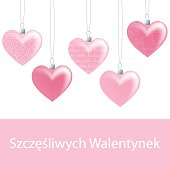 Hanging ornament Valentine's Day Card in vector format.