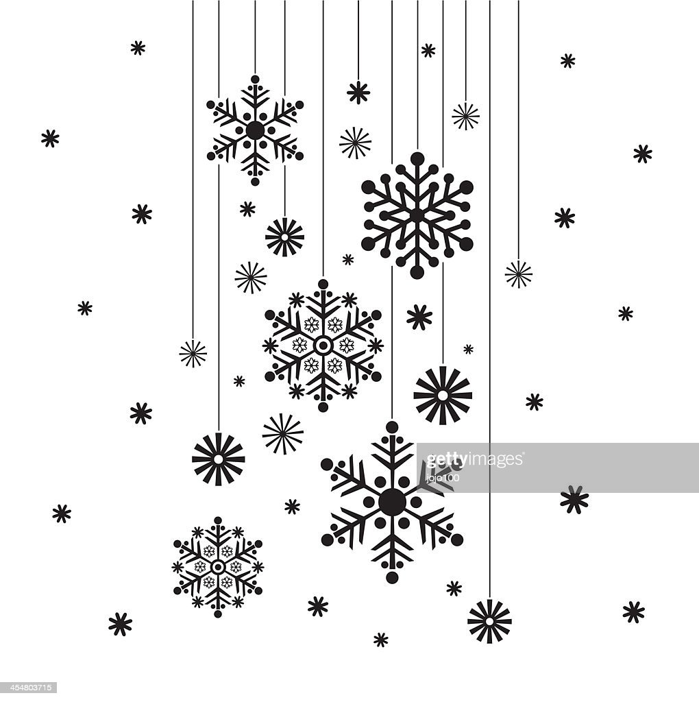 hanging snowflake in silhouette vector art getty images