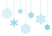 Hanging snowflakes on a white background vector