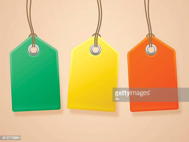 hanging tags - luggage tag stock illustrations, clip art, cartoons, & icons