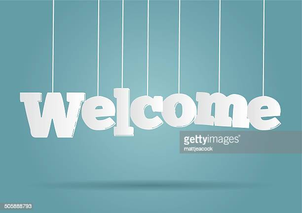 stockillustraties, clipart, cartoons en iconen met hanging word welcome - begroeten