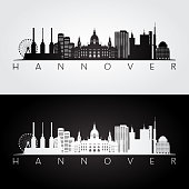 Hannover skyline and landmarks silhouette, black and white design, vector illustration.