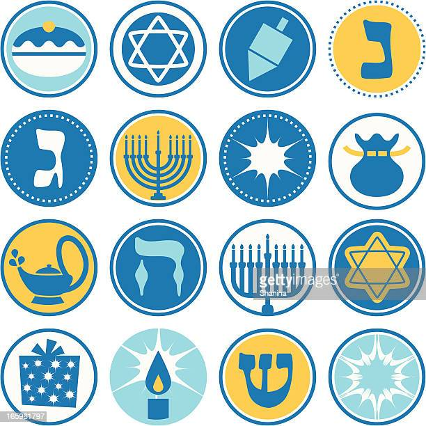 hannukah - circle icons / seals - sufganiyah stock illustrations