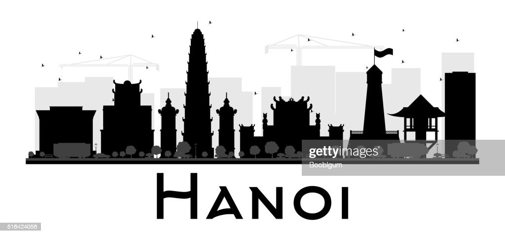 Hanoi City skyline black and white silhouette.