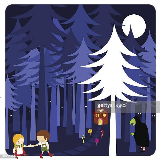 ilustraciones, imágenes clip art, dibujos animados e iconos de stock de hansel & gretel - bruja