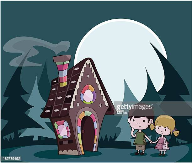 hansel and gretel / fairytale - making a cake stock illustrations, clip art, cartoons, & icons