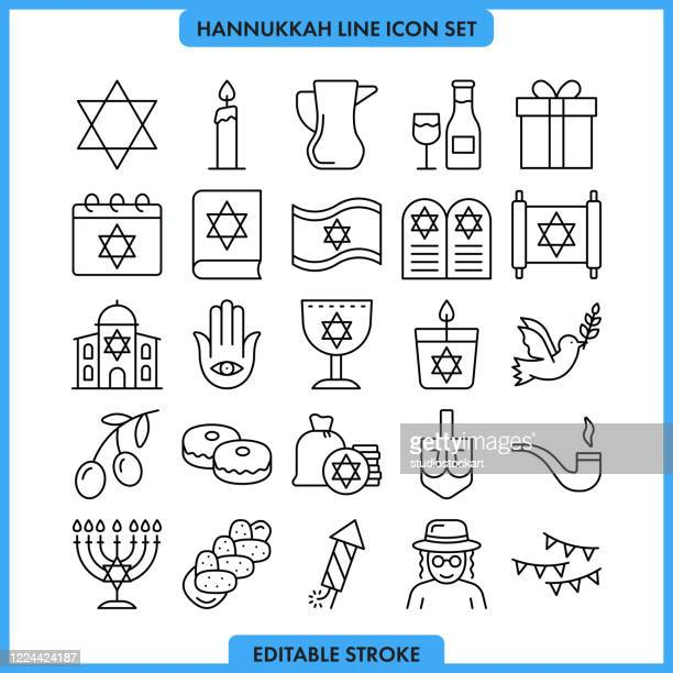 hanukah line icon set. editable stroke - sufganiyah stock illustrations