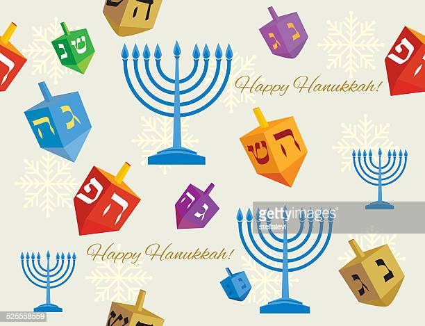 hanukkah backgound with menorahs and dreidels - dreidel stock illustrations, clip art, cartoons, & icons