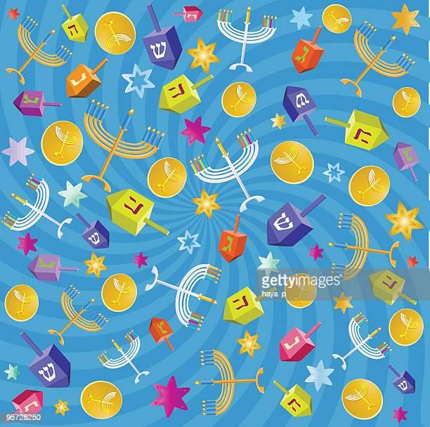 hanukkah background with colorful symbols - dreidel stock illustrations, clip art, cartoons, & icons