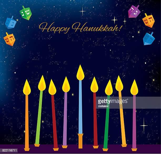 hanukkah candles and dreidels - hanukkah stock illustrations, clip art, cartoons, & icons