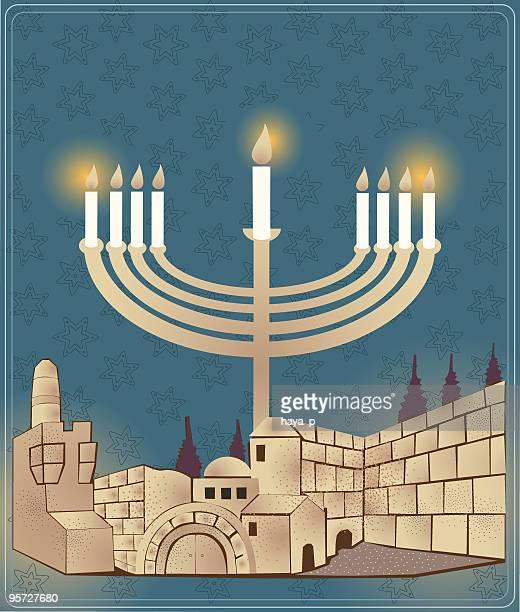 hanukkah candlestick and jerusalem old city - wailing wall stock illustrations, clip art, cartoons, & icons