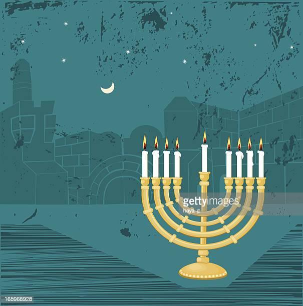 hanukkah candlestick and jerusalem - wailing wall stock illustrations, clip art, cartoons, & icons