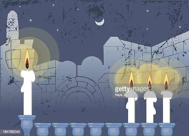 hanukkah candlestick and old city , jerusalem - wailing wall stock illustrations, clip art, cartoons, & icons