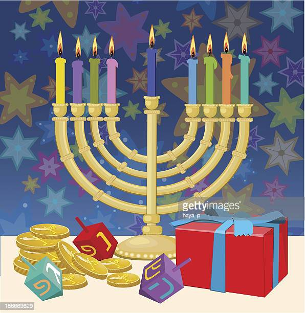 hanukkah candlestick, gift box, gelt - dreidel stock illustrations, clip art, cartoons, & icons