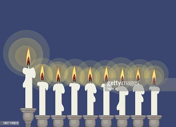 hanukkah candlestick - hanukkah stock illustrations, clip art, cartoons, & icons