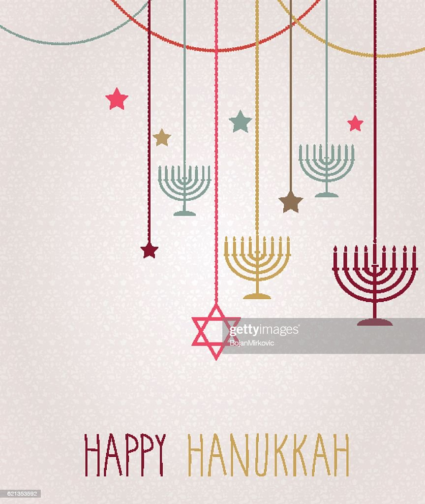 Hanukkah card. Hanging colorful menorah : stock illustration