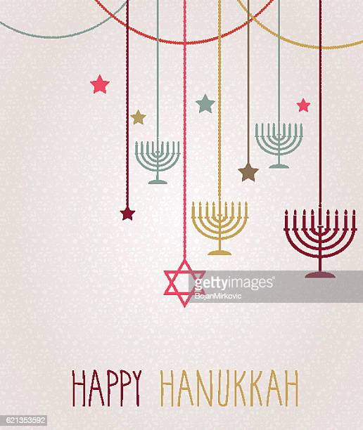 illustrations, cliparts, dessins animés et icônes de hanukkah card. hanging colorful menorah - hanoukka
