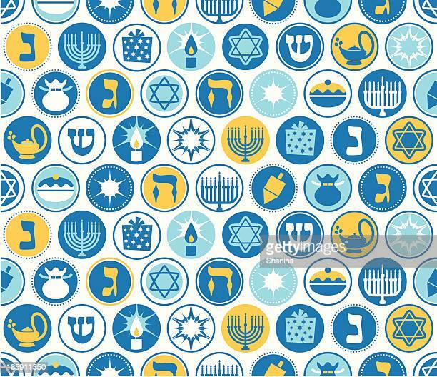 hanukkah circles seamless pattern - hanukkah stock illustrations, clip art, cartoons, & icons