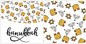 Hanukkah Design Elements in doodle style. Traditional attributes of the menorah, Torah, star of David. Seamless pattern, hand lettering
