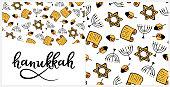 Hanukkah Design Elements in doodle style. Traditional attributes of the menorah, Torah, star of David, dreidel. Seamless pattern, hand lettering