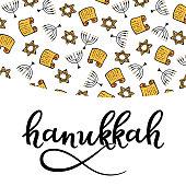 Hanukkah Design Elements in doodle style. Traditional attributes of the menorah, Torah, star of David. hand lettering