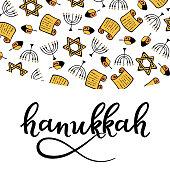 Hanukkah Design Elements in doodle style. Traditional of the menorah, Torah, star of David, dreidel. hand lettering
